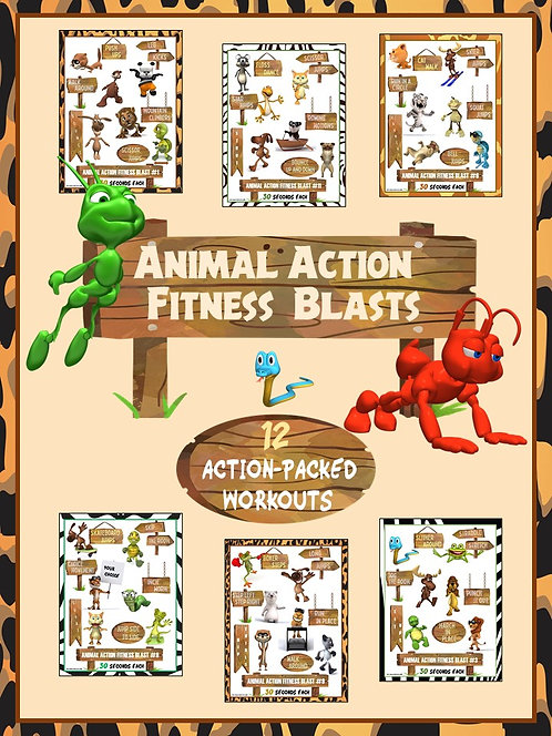 Animal Action Fitness Blasts- 12 FUN Workouts- Great for Distance Learning