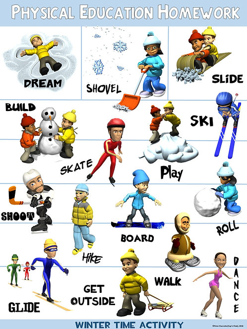 PE Poster: Physical Education Homework- Winter Version