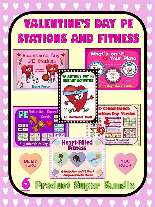 Valentine's Day PE Stations and Fitness- 6 Product Super Bundle
