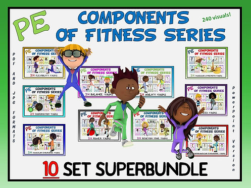 PE Components of Fitness Series-10 Set SUPER BUNDLE- Great for Social Distancing
