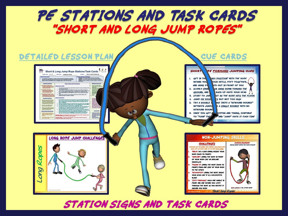 "PE Manipulative Stations and Task Cards- ""Short and Long Jump Ropes"""