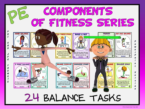 PE Component of Fitness Task Cards: 24 Balance Movements