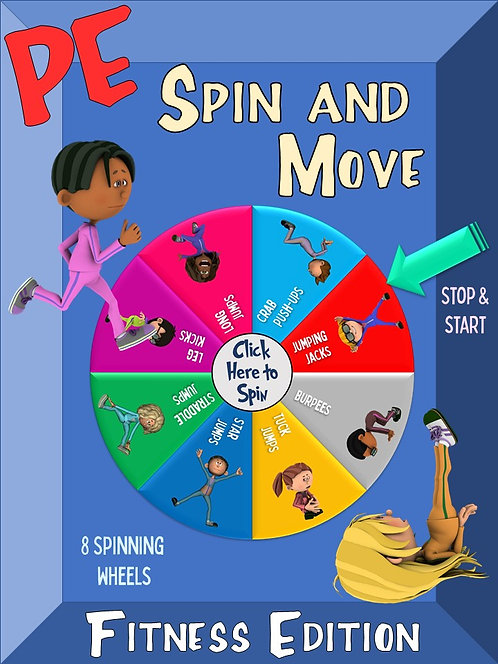 PE Spin and Move- Fitness Edition: 8 Spinning Wheels for Engaging Movement