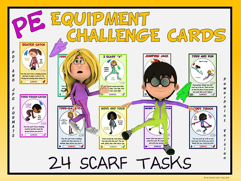 PE Equipment Challenge Cards - 24 Scarf Tasks (includes PowerPoint)