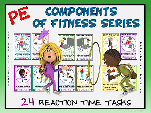 PE Component of Fitness Task Cards: 24 Reaction Time Movements
