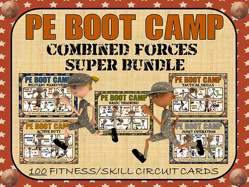 PE BOOT CAMP SERIES: Combined Forces: Super Bundle- 100 Fitness Circuit Cards