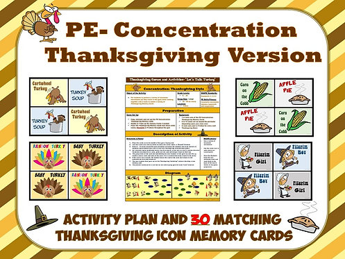 PE Concentration: Thanksgiving Version- Activity Plan with 30 Matching Cards