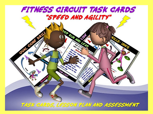 "Fitness Circuit Task Cards- ""Speed and Agility"""