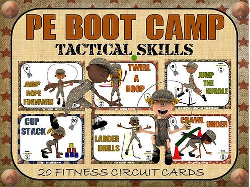 PE BOOT CAMP SERIES: Tactical Skills- 20 Fitness Circuit Cards
