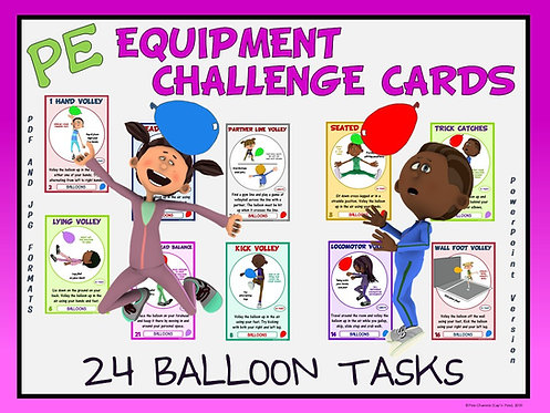 PE Equipment Challenge Cards - 24 Balloon Tasks (includes PowerPoint)