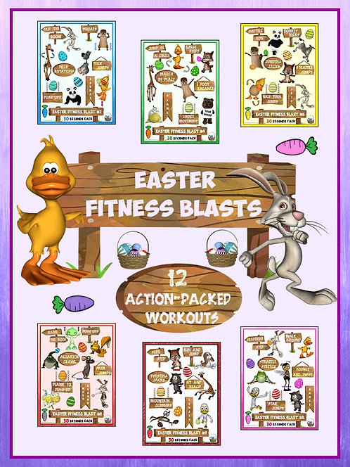 Easter Fitness Blasts- 12 FUN Workouts- Great for Distance Learning