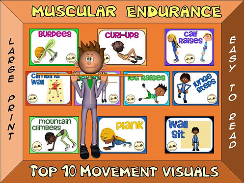Muscular Endurance- Top 10 Movement Visuals- Simple Large Print Design