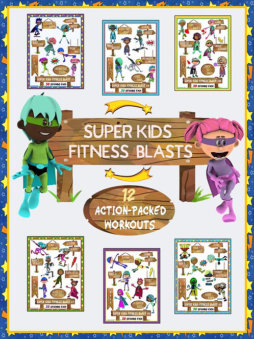 Super Kids Fitness Blasts- 12 FUN Workouts- Great for Distance Learning