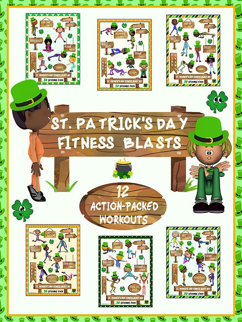 St. Patrick's Day Fitness Blasts- 12 FUN Workouts- Great for Distance Learning