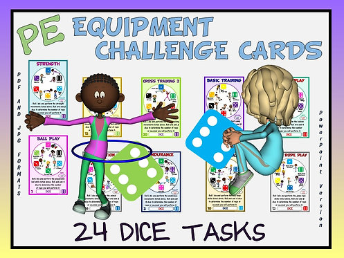 PE Equipment Challenge Cards - 24 Dice Tasks (includes Powe