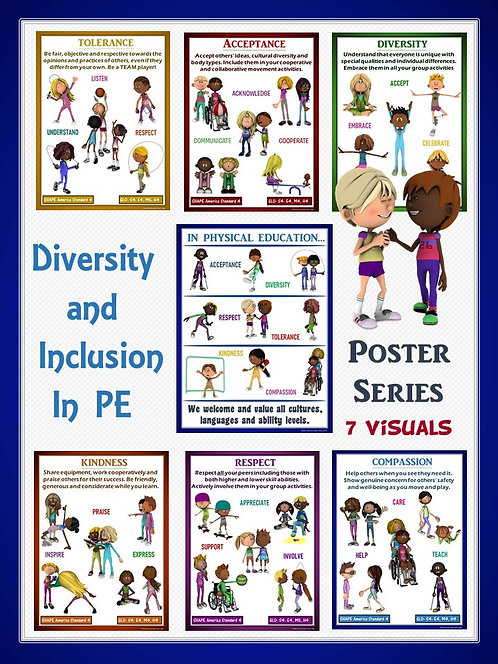 PE Poster Bundle: Diversity and Inclusion in Physical Education- 7 Visual Series