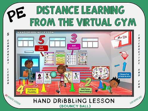 PE Distance Learning from the Virtual Gym- Hand Dribbling Lesson (Bouncy Ball)