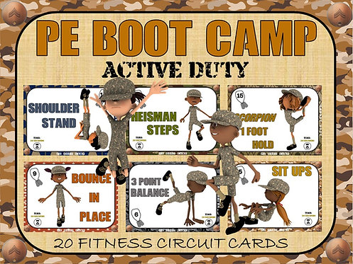 PE BOOT CAMP SERIES: Active Duty- 20 Fitness Circuit Cards