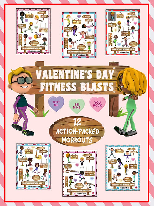 Valentine's Day Fitness Blasts- 12 FUN Workouts- Great for Distance Learning
