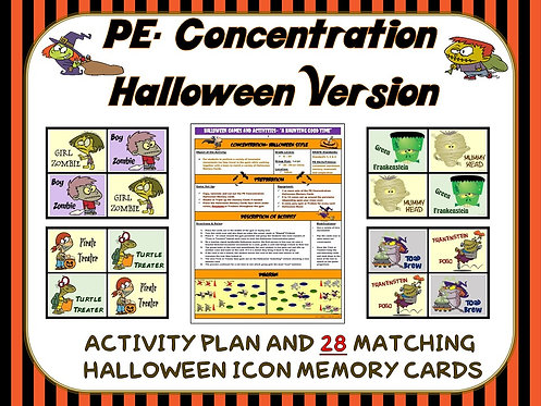 PE Concentration: Halloween Version- Activity Plan and 28 Matching Memory Cards