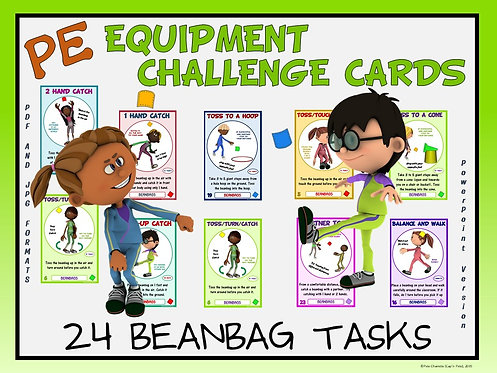 PE Equipment Challenge Cards - 24 Beanbag Tasks (includes PowerPoint)