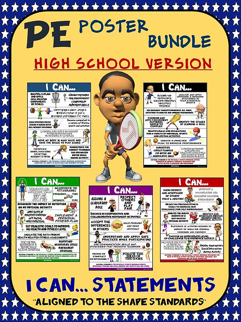 PE Poster Bundle: I Can Statements; High School Version- 5 Std Aligned Posters