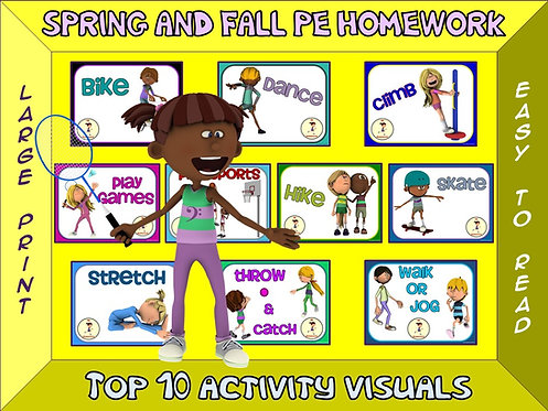 PE Homework (Spring/Fall)- Top 10 Activity Visuals- Simple Large Print Design