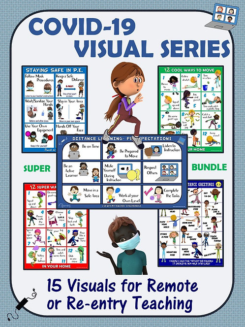 COVID-19 Visual Series Bundle- 15 Visuals for Remote and In-Person PE