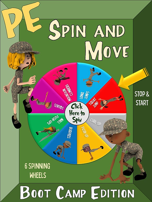 PE Spin and Move- Boot Camp Edition: 6 Spinning Wheels for Engaging Movement