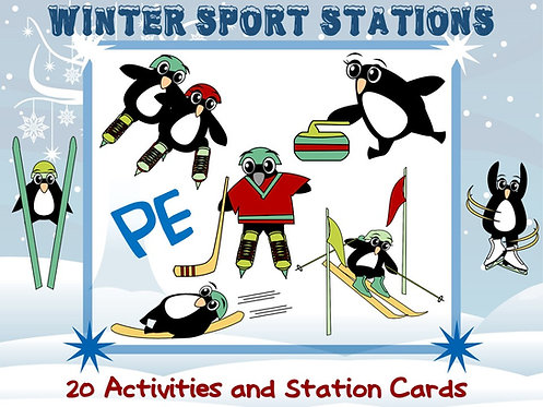 PE Winter Sport Stations: 20 Activities and Station Cards