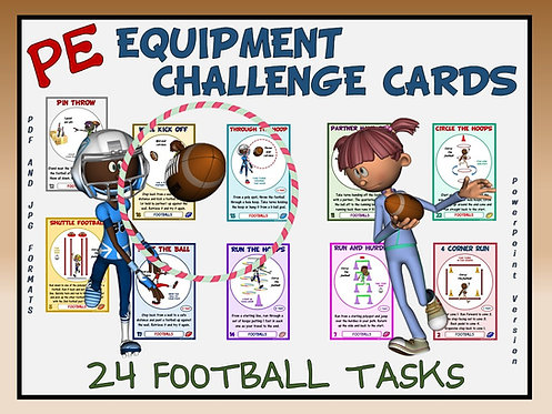 PE Equipment Challenge Cards - 24 Football Tasks (includes PowerPoint
