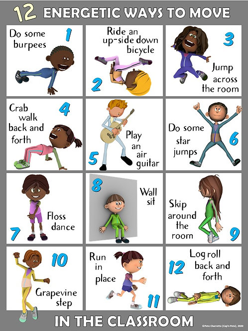 Moving in the Classroom Visual Series-12 ENERGETIC Ways to Move in the Classroom