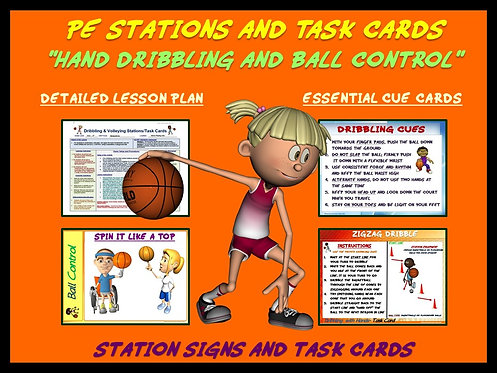 "PE Skill Stations and Task Cards- ""Hand Dribbling and Ball Control"""