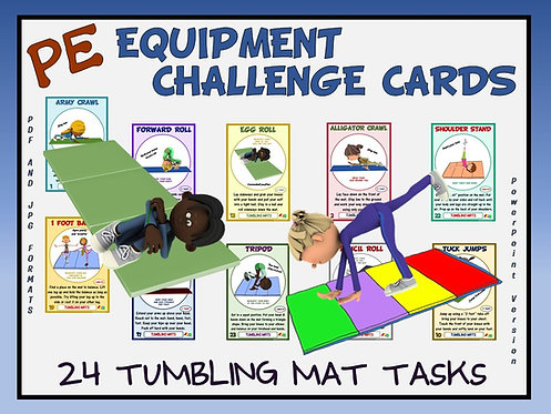 PE Equipment Challenge Cards - 24 Tumbling Mat Tasks (includes Pow