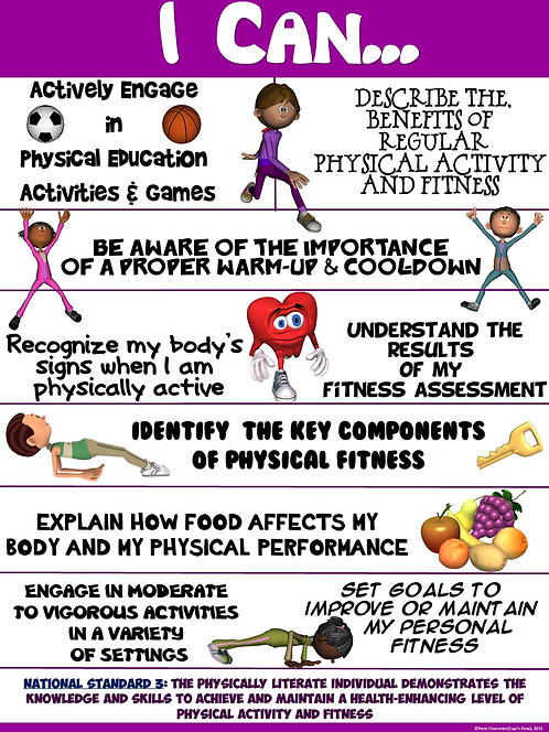 "PE Poster: ""I Can"" Statements- Standard 3: Achieving a Higher Level of Fitness"