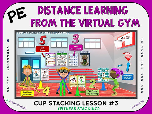 PE Distance Learning from the Virtual Gym- Cup Stacking Lesson #3 (Fitness)