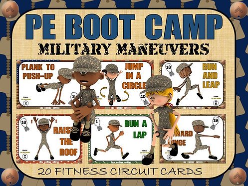 PE BOOT CAMP SERIES: Military Maneuvers- 20 Fitness Circuit Cards
