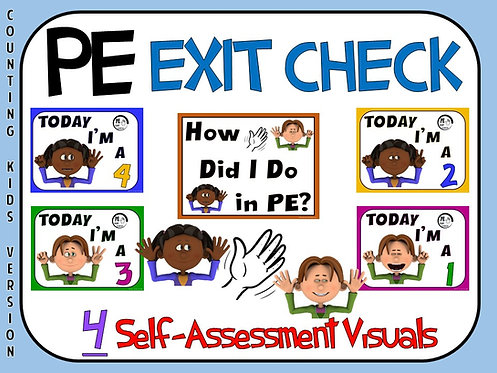 PE Exit Check- 4 Self-Assessment Visuals- Counting Kids Version