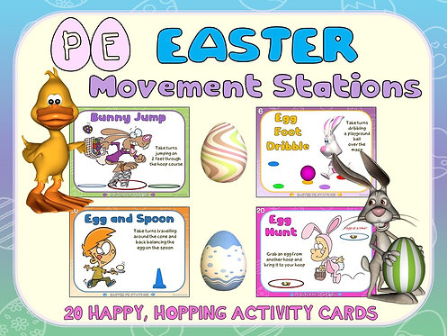 "Easter PE Stations- 20 ""Happy, Hopping"" Activity Cards"