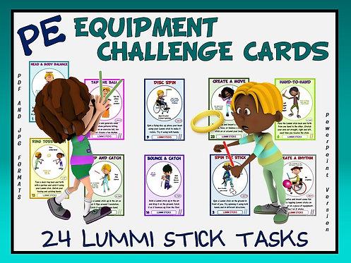 PE Equipment Challenge Cards - 24 Lummi Stick Tasks (includes Power Point)