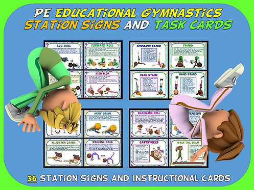 PE Educational Gymnastics Station Signs and Task Cards- 36 Signs and Cards