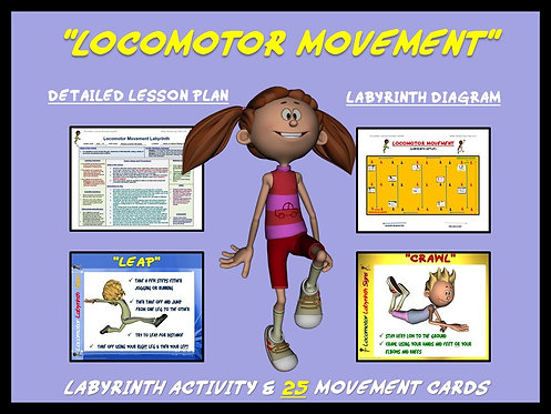 "PE Activities: ""Locomotor Movement""- 25 Movement Cards and Labyrinth Activity"