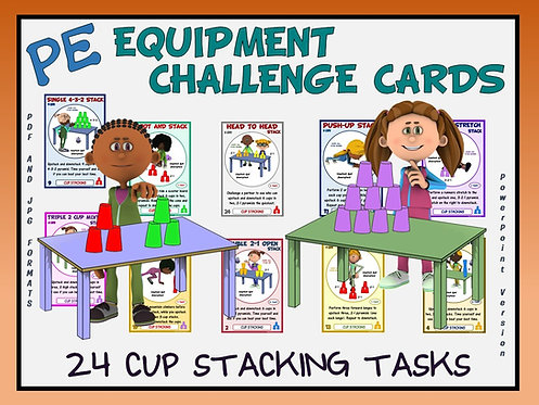 PE Equipment Challenge Cards - 24 Cup Stacking Tasks (includes Pow
