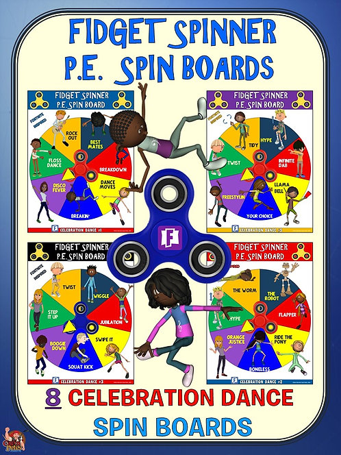 Fidget Spinner PE Spin Boards- 8 Fortnite Inspired Celebration Dance Spin Boards
