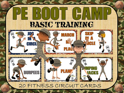 PE BOOT CAMP SERIES: Basic Training- 20 Fitness Circuit Cards