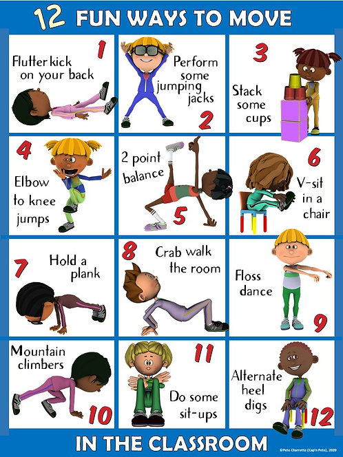 Moving in the Classroom Visual Series- 12 FUN Ways to Move in the Classroom
