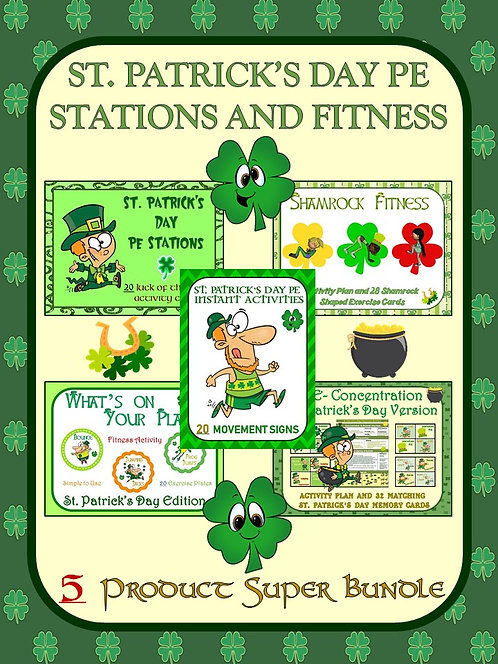 St. Patrick's Day PE Stations and Fitness- 5 Product Super Bundle