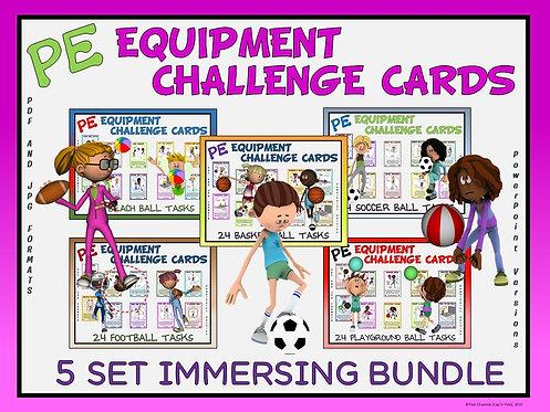 PE Equipment Challenge Cards - 5 Set IMMERSING Bundle (includes Power Points)