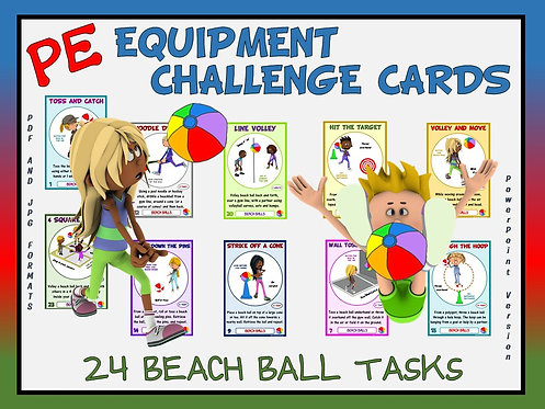 PE Equipment Challenge Cards - 24 Beach Ball Tasks (includes Pow