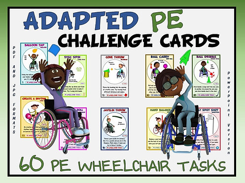 Adapted PE Challenge Cards - 60 PE Wheelchair Tasks (includes Power Point)